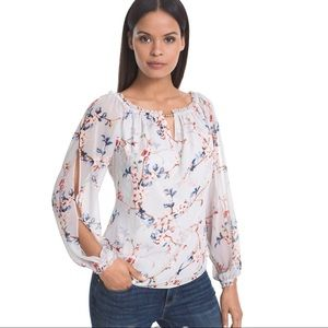 WHBM Floral Print Blouse Grey Cold Shoulder S
